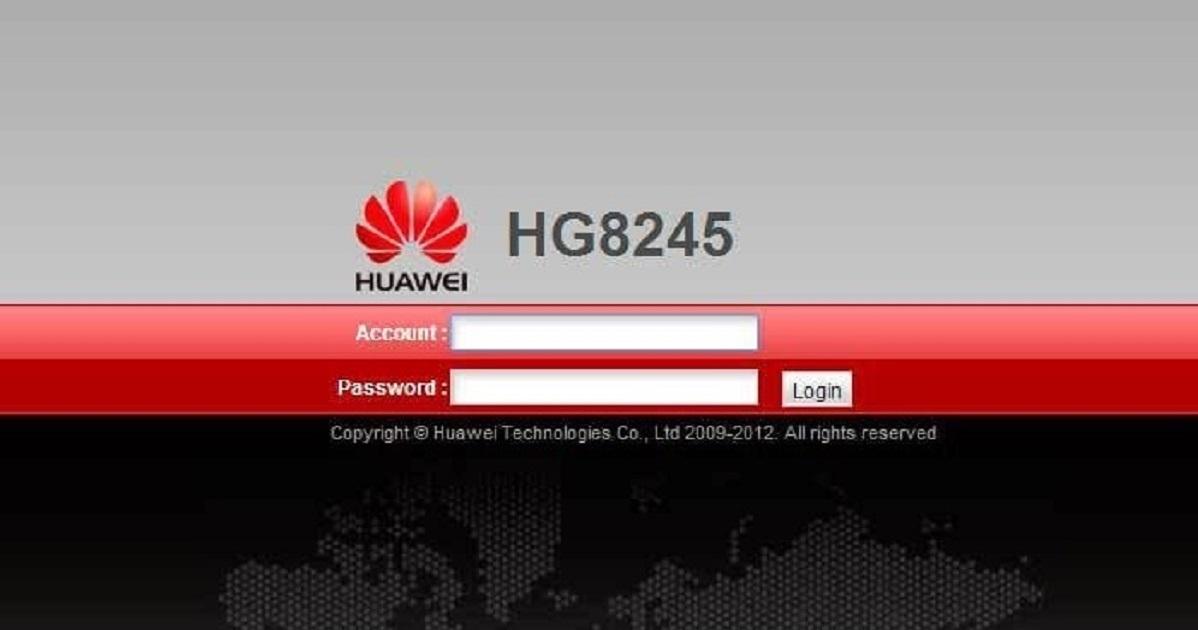 Pantalla de acceso a router Huawei