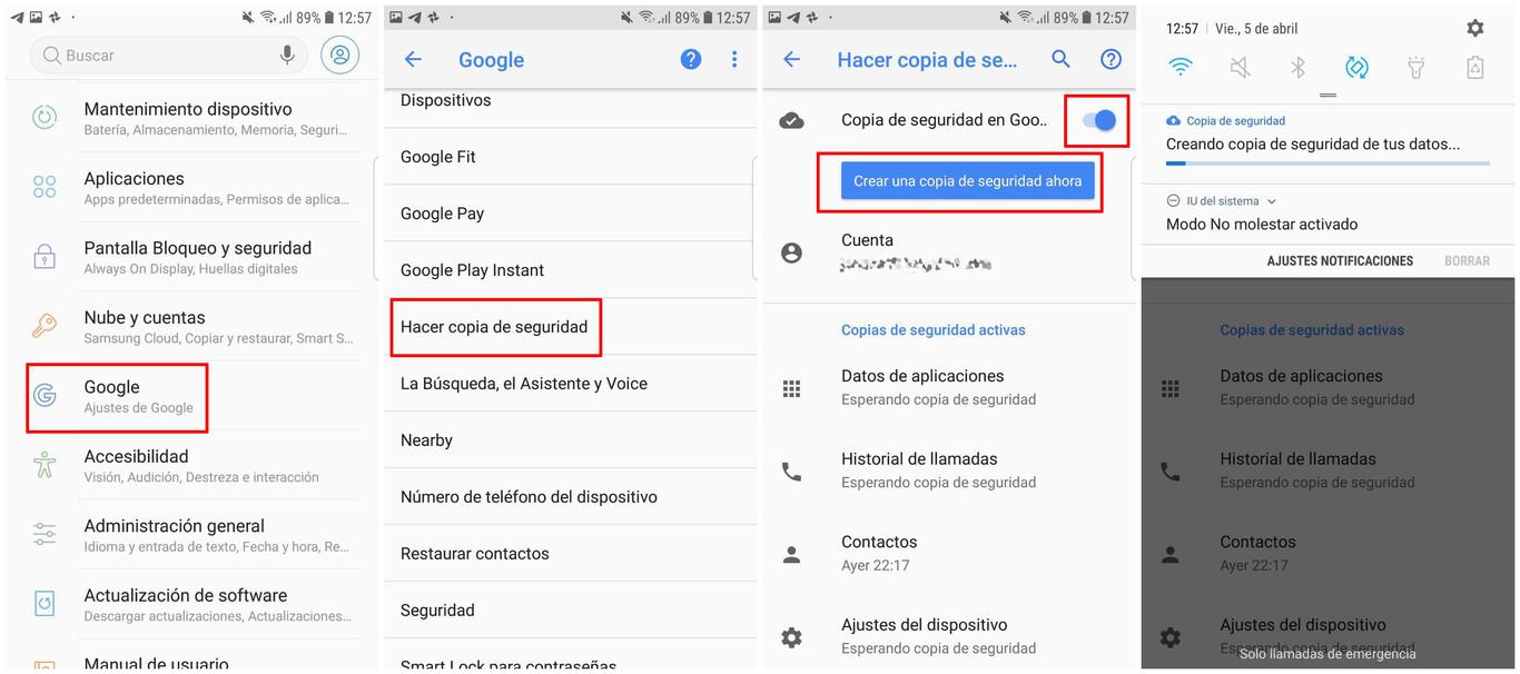 Como hacer una copia de seguridad en Android