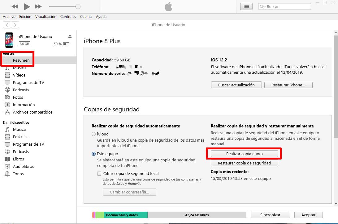 Como hacer una copia de seguridad en iphone